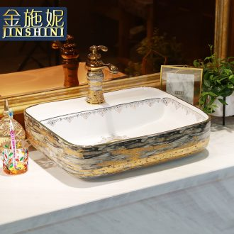 European golden marble ceramic lavatory basin square contracted household toilet lavabo art on stage