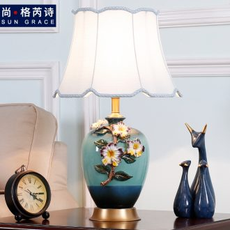American key-2 luxury colored enamel lamp full copper European - style bedroom berth lamp creative warm sitting room ceramic new Chinese style