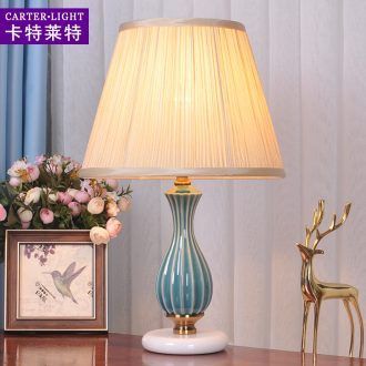 Decorative lamp bedroom nightstand American simple ceramic dimmer remote modern marriage room warm warm light got connected