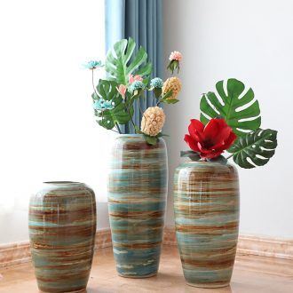 Jingdezhen manual coarse pottery jar flower arranging furnishing articles sitting room of large vases, ceramic dry flower pot restoring ancient ways