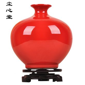 Chinese red dust heart of jingdezhen ceramics archaize color glaze vase pomegranate modern vogue to live in a new bottle