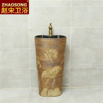 One-piece pillar of restoring ancient ways of song dynasty ceramics basin domestic large oval sink pillar type lavatory hotel home