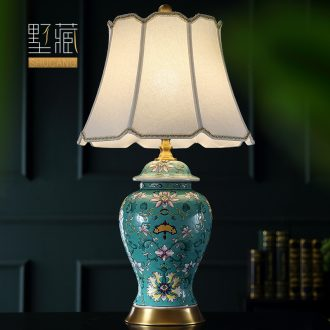 Large American Europe type desk lamp ceramic decoration art designer full copper restoring ancient ways the sitting room porch town house, lamps and lanterns