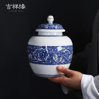 Auspicious edge retro blue and white tea pot ceramic seal medium, general tank half catty a kilo to POTS