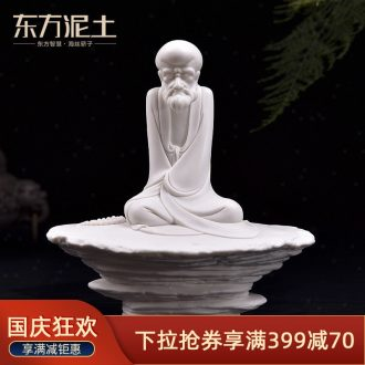 Oriental clay ceramic zen desktop furnishing articles dehua white porcelain sculpture craft art sitting room adornment/zen