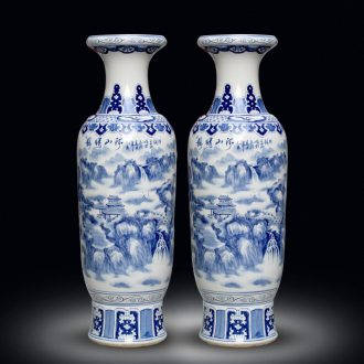 Jingdezhen hand - made porcelain decoration large sitting room of large vase flower arranging hotel opening gift porcelain furnishing articles
