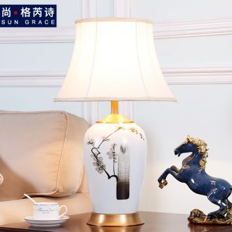 Chinese zen hand - made ceramic desk lamp of new Chinese style living room bedroom berth lamp decoration modern retro warmth