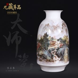 Jingdezhen ceramics dong-ming li hand-painted pastel landscape vase Chinese style living room TV cabinet decorative furnishing articles arranging flowers