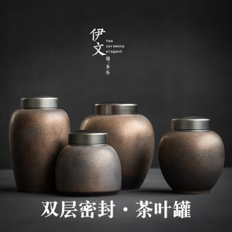 Evan ceramic seal tea caddy piggy bank household receives double POTS to restore ancient ways to wake large POTS