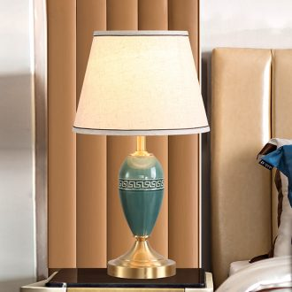 LED lamp All copper ceramic desk lamp of bedroom the head of a bed of new Chinese style is I and contracted ice to crack the sitting room is the study of fret lamp
