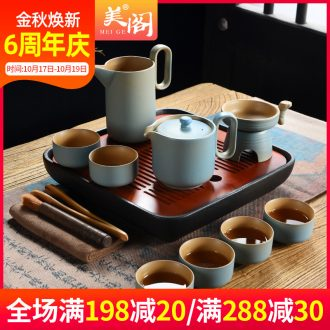 Beauty cabinet household contracted teapot ceramic kung fu tea set office dry tea cups of Japanese tea tray was small tea table