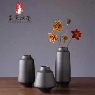 Sitting room is contracted, black ceramic vase modern flower arrangement porch place jingdezhen bedroom adornment dried flower vase