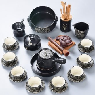 Kung fu tea tao blessing black zen suit household ceramics of the silk road the whole tea kettle cup group