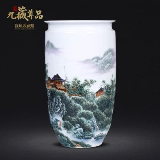 Jingdezhen ceramics hand-painted lake house vases, new Chinese style living room TV ark home decoration furnishing articles arranging flowers