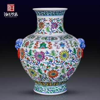 Jingdezhen ceramic hand-painted color bucket ears bottle of flower arranging decorative vase new Chinese style living room home furnishing articles