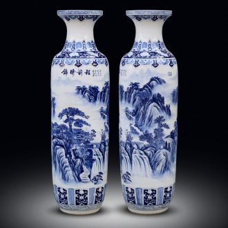Blue and white porcelain of jingdezhen ceramics hand - made landscape painting of large vases, sitting room adornment hotel furnishing articles