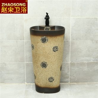 Basin of Chinese style restoring ancient ways ceramic one pillar courtyard sink antique bathroom washs a face basin sink the balcony