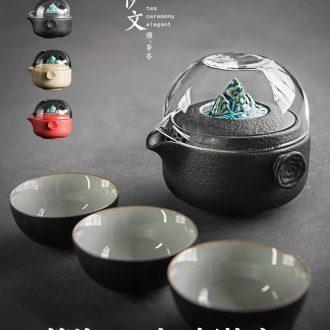 Even travel ceramic tea set crack simple tea cup is suing kung fu tea set office gift boxes