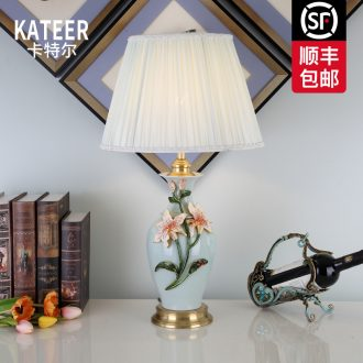 Cartel full copper colored enamel lamp sitting room key-2 luxury contracted type villa ceramic lamp of bedroom the head of a bed