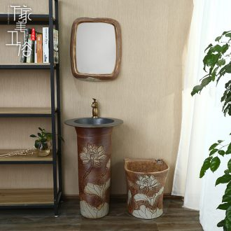 M beautiful ceramic basin of pillar type lavatory washbasins one - piece toilet balcony column floor type household