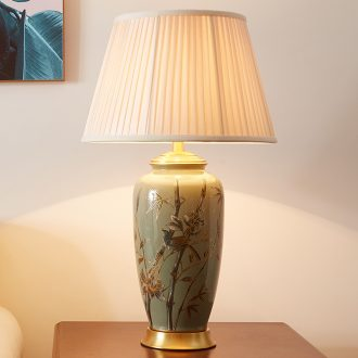 Desk lamp sitting room new Chinese American Europe type restoring ancient ways of rural atmospheric light key-2 luxury villa whole copper ceramic lamp of bedroom the head of a bed