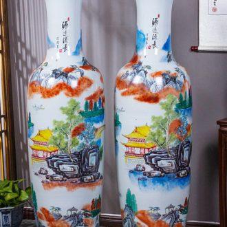 Jingdezhen ceramics hand - made pastel big vase furnishing articles Chinese style hotel opening gifts sitting room ground adornment