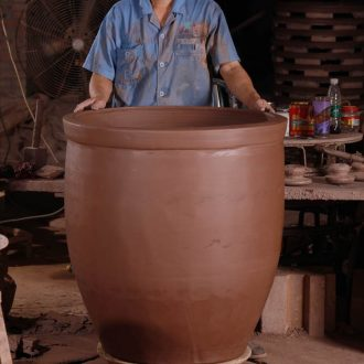 The Pickles cylinder size old ceramic coarse pottery fermentation tank storage JiangGang tank fish farming landscape water lily cylinder