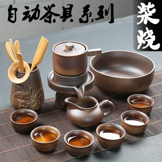 Creative stone mill semiautomatic kung fu tea set ceramic prevent hot loading of a complete set of lazy household rotating tea kettle