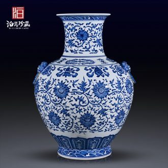 Jingdezhen ceramics antique blue - and - white bound branch lotus lion shell of large vases, Chinese style household decorations furnishing articles