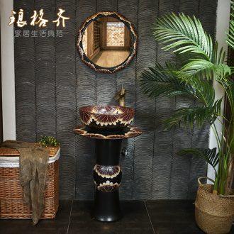 Vertical pillar lavabo lavatory ceramic industry wind restoring ancient ways of household toilet floor pillar basin