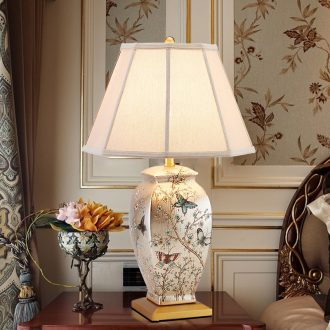French garden lamp bedside lamp sitting room bedroom American - style villa hotel restoring ancient ways between example copper ceramic desk lamp