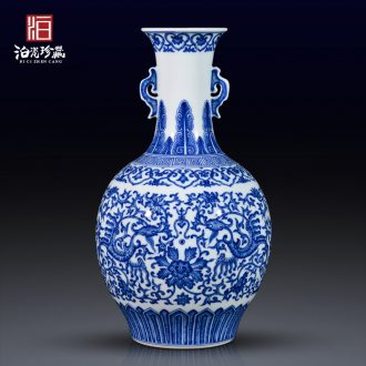 Jingdezhen ceramics antique blue - and - white lucky bamboo vase lily home sitting room ark adornment home furnishing articles