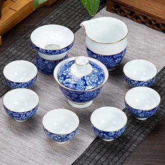 Blue and white porcelain ronkin kung fu tea bowl of a complete set of tea cups sea home tea teapot suits