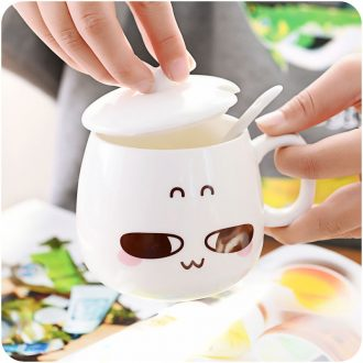 Cup of coffee cup milk cup mark cup with cover glass ceramic cup with a spoon creative lovely princess with cover