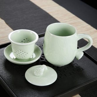 Open the slice your up ceramic cups with cover filter tea separate office boss personal cup tea tea cups