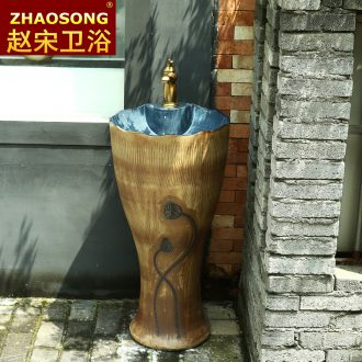 Pillar type restoring ancient ways outdoor lavatory washbasins courtyard archaize ceramic outdoor floor pillar one basin