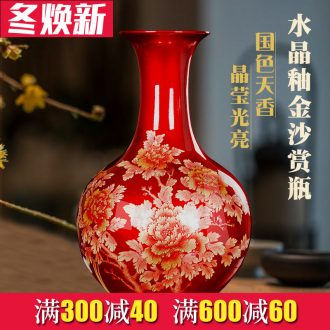 Jingdezhen ceramics red golden vase peony flower arrangement furnishing articles of modern Chinese style household living room TV cabinet decoration