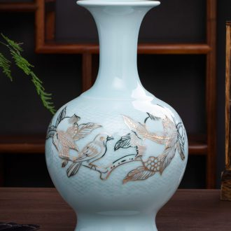 Jingdezhen ceramics hand - carved fuels the vase is placed the new Chinese style household, sitting room porch decoration flower arrangement