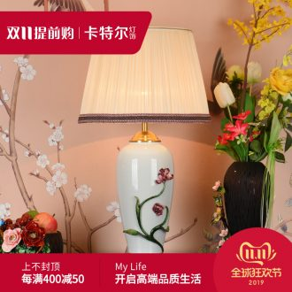 Ou all copper colored enamel lamp bedside lamp American contracted sitting room bedroom key-2 luxury villa ceramic decoration lamp