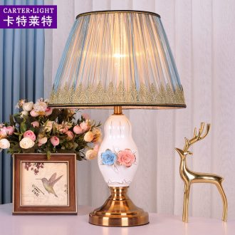 Decorate desk lamp of bedroom the head of a bed the sitting room is contemporary and contracted remote American ceramic creative personality warm light sweet romance