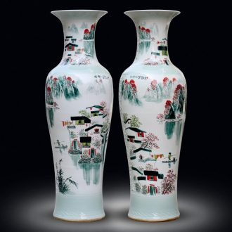 Jingdezhen sitting room of large vases, hand-painted landscape decorations ceramics from a large study hotel furnishing articles at the door