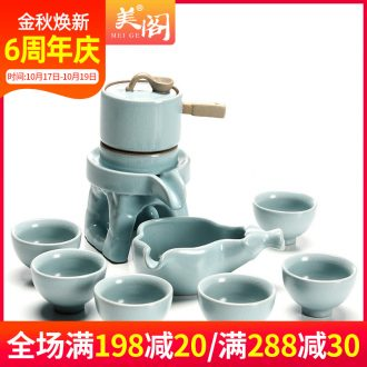 Beauty cabinet to restore ancient ways fit Japanese lazy kung fu tea creative stoneware semi - automatic household utensils suits for all