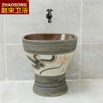 Nordic retro ceramic one balcony mop pool square mop pool household mop basin sink outdoor toilet