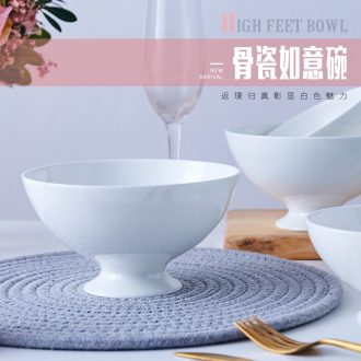 Jingdezhen Chinese tall rice bowls ipads porcelain household jobs rainbow such use white ceramic tableware creative ruyi bowl