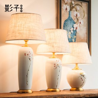 Modern Chinese style full copper ceramic desk lamp sitting room bedroom bed hotel study rooms hand - made decorative lamps and lanterns is 1056