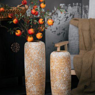 Jingdezhen ground vase sitting room hotel earthenware jar retro large - sized ceramic flower arranging dried flower vases, flower art furnishing articles