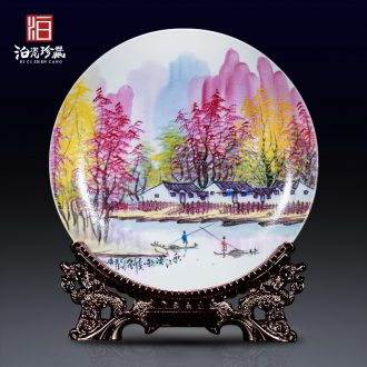 Pearl color hand-painted hang dish of jingdezhen ceramics decoration sit plate new Chinese style household collect rich ancient frame furnishing articles