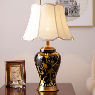 American fashion ceramic desk lamp sitting room European - style villas creative new Chinese style decoration study sweet bedroom berth lamp