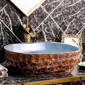 Ceramic lavabo stage basin oval antique Chinese style art creative industry wind toilet lavatory basin