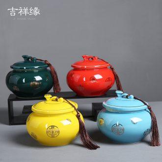 Auspicious flange type Chinese red ruyi caddy fixings ceramic kung fu tea set large storage jar airtight jar of puer tea pot